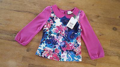 New Baby Girls MINI CLUB Top Sequin Peter Pan Floral Pink 12-18M Ted Baker Style