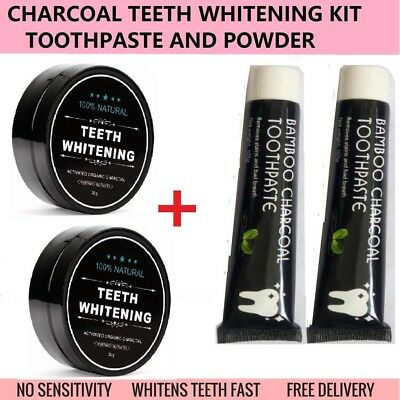 4pcs Organic Activated Charcoal Teeth Whitening Coconut Shell Powder Carbon AU