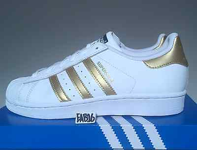 buy popular 9f7de ab384 Adidas Superstar J Junior Metallic Gold And White GS B39402 Boys Kids Shell  Toe