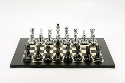 DAL ROSSI CHESS SET 40 cm with Silver & Titanium Black Weighted Chess Pieces
