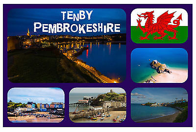 Tenby, South Wales - Souvenir Novelty Fridge Magnet - Flags / Sights / Gifts