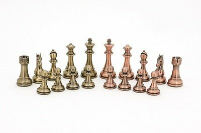 DAL ROSSI BRONZE & COPPER WEIGHTED CHESS PIECES Set - King stands 110 mm
