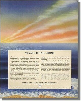 1941 Sunset over ocean - Voyage of the atoms - Union Carbide print-ad