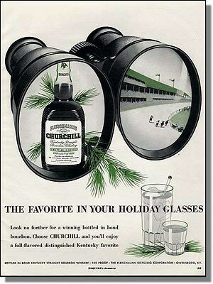 1952 Churchill Kentucky Bourbon for the holidays - Horse racing print-ad