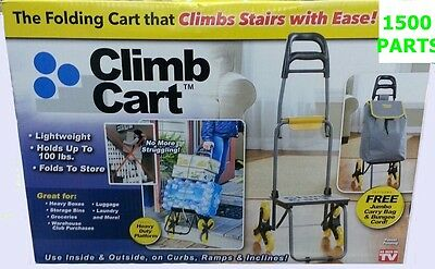 CLIMB CART Stair Climbing Folding Cart, Easily tote groceries up steps. 6 WHEELS