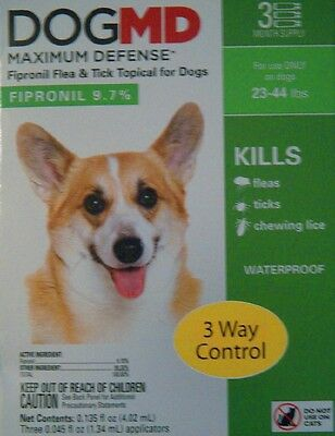 Dog Md Maximum Defense Fipronil Flea & Tick Topical For Dogs 23-44 Lbs 3 Ct