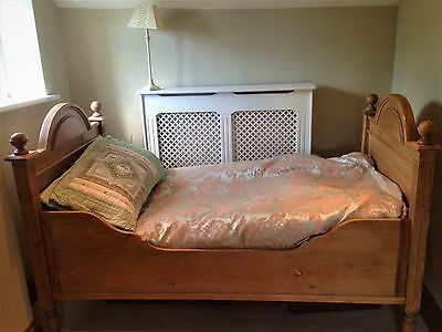 Victorian Antique Pine Sleigh Bed With Mattress