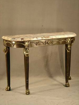 Antique Gold Patina Table beside the wall leg lion Bronze handcraft top marble