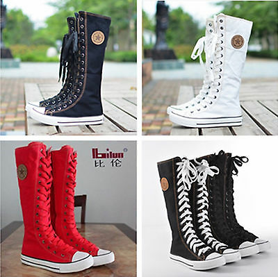 PUNK EMO Womens Shoes Canvas Flat Tall Boots Zip Lace Up Knee High Sneaker AUS