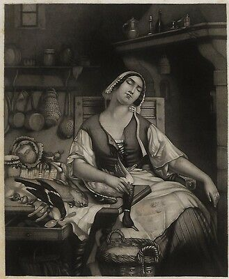 English MAID Rabbit Duck Vegetables Dinner Antique MATTED 1852 Engraving Print