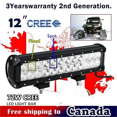 12inch 72W CREE LED Light Bar Off Road Truck Boat Fog Ford Jeep SUV ATV UTE 4WD