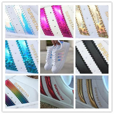 Men's Women's Stripe Lace Up Sport Running Sneakers Superstar Trainers Shoes UK