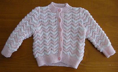 Baby Jacket: Hand Knitted - Pink/white - 3 Months
