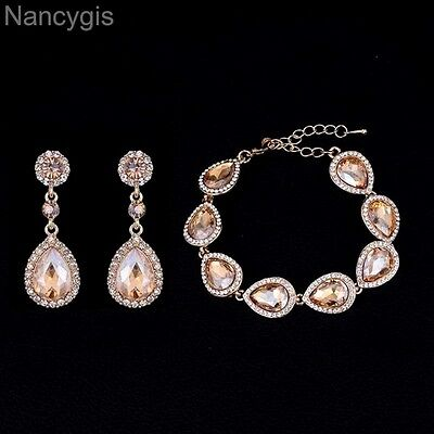 Gold Crystal Water Drop Bracelet and Earrings Party Gift Wedding Jewellery Set