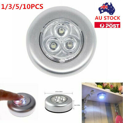 3 LED Home Wardrobe Touch Lights Battery Powered Push Tap Stick On Click Lamps