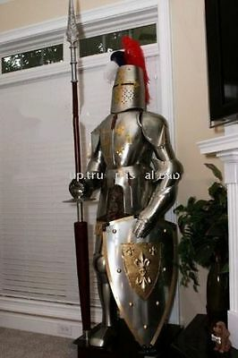 Rare Medieval Knight Suit Of Templar Armor W/LANCE Combat Full Body Armor Stand4
