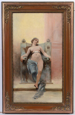 "Vojtech Adalbert Hynais-Attrib. ""Allegory (Female nude enthroned)"" oil on canvas"