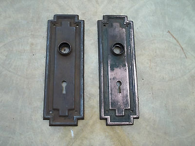 Pair Old Mission Style Door Knob Backplates, Worn Finish, 2 1/2 x 7 1/2 Free S/H