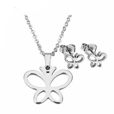 Girls Childrens Stainless Steel Butterfly Necklace & Earrings Set - Non Tarnish