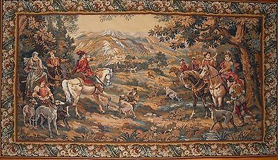 """Large Antique / vintage French Wall Hanging Tapestry Hunting Scene JP 78"""" x 46"""""""