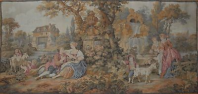 """Antique / vintage French Wall Hanging Tapestry Pastorale Scene JP 61"""" x 28"""""""