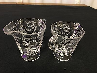 Fostoria Etched Crystal Creamer and Open Sugar Bowl