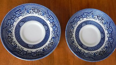 """EXCELLENT Churchill Blue Willow ENGLAND (2) SAUCERS 5.5"""""""