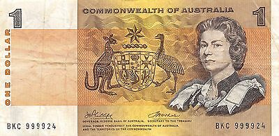 Australia Commonwealth  $1 Series ND.1972 P 37d  BKC circulated  Banknote , SP 7