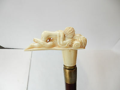 Collectible Dark Wood Walking Stick Cane with Erotic Couple Bone Handle