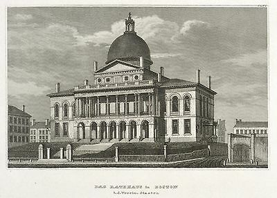 BOSTON - MASSACHUSETTS STATE HOUSE - Meyer's Universum - Stahlstich 1837