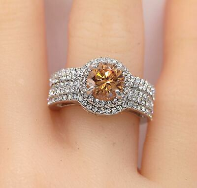 Chocolate CZ Paved 18K White Gold Plated Women Ring J945