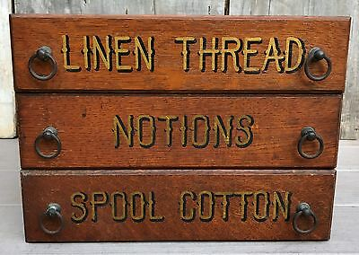 Antique 3 General Store Tiger Oak Drawers Cabinet Spool Cotton Thread Notions  A