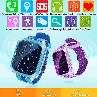 Waterproof GPS Tracker SOS Call Children Baby Safe Smart Watch For Android iOS