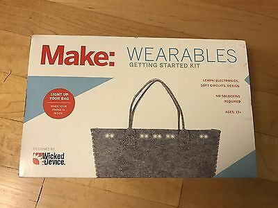 Make: Wearables Getting Started Kit in Box Light Up Your Bag NEW