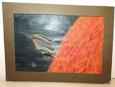 Antique Or Vintage Art Painting Of Alien Spaceship Leaving Sun_Mars Planetary