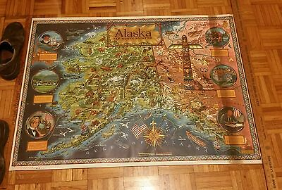 1964 Vintage Picture Map Kleng Rude ALASKA FAR NORTH FRONTIER Animals Ships