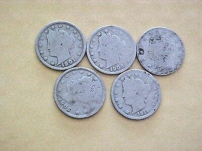 5 Liberty Head Nickles -1902-1907-1908- 1911-1912