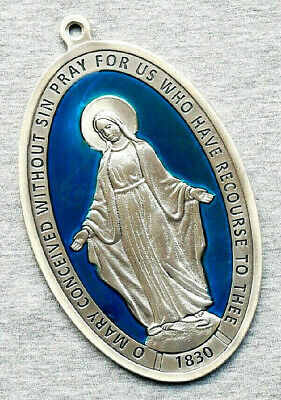 "Miraculous Virgin (Lady of Grace) Large Medal 6"" x 3-3/4"" w/ Blue Enamel - Italy"