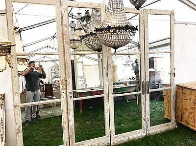 X4, Antique French Mirrored Chateau Doors, 18th Century, 255cm Tall, Rare