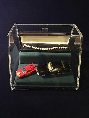 """Acrylic Display Case 9""""L x 6.5""""H x 7.5""""W Jewelry Hobby Cars Collectibles w/Cable"""
