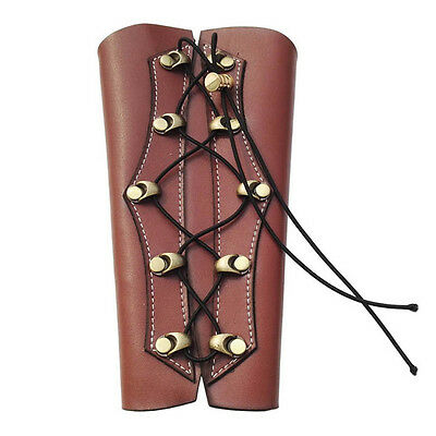 Brown Leather Shooting Archery Bow Arm Guard Armband Protector Hunting