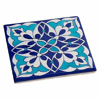 Trivet Blue Abstract Pottery Tile Hot Pad Kitchen Wall Decor Decorative Accents