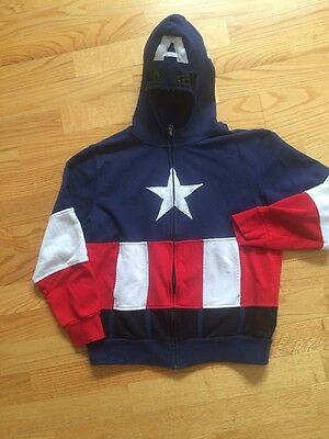 Kids Marvel Captain America Zip Up Hoodie With Mask XL Red White Blue
