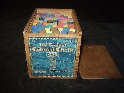 Vintage Color Chalk Box #620 Primitive Wood Box Old Faithful FULL
