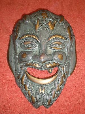 Vintage Bronze Greek Tragedy Comedy Mask/Wall Plaque Museum Quality VGC