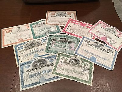Lot of 10 Vintage STOCK CERTIFICATES Silver Copper Mining Railroads Railways