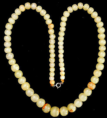 "Ancient Agate Beads Necklace with Sterling Silver Clasp 23"" Long"