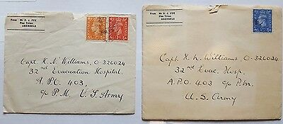 Lot of 2 1945 World War II Army Letters with Contents from England SEE PICS **
