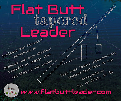10 Fly fishing Flatbutt Tapered Leaders 12ft Available in 4X,5X,