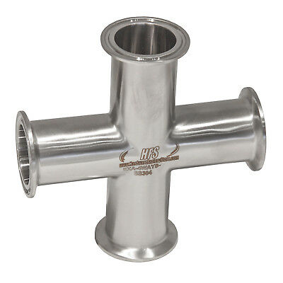 """HFS 4 Way Cross + 2"""" Tri Clamp Fitting 304 Stainless Steel"""